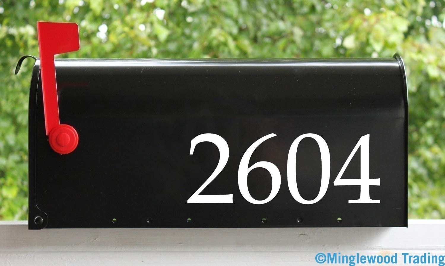 "White - Set of Two (2) Custom Text for Mailbox or House 3"" Tall x 11.5"" Wide Vinyl Decal Stickers - Numbers Name Address - Booka - 20 Color Options"