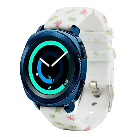 Honecumi Bracelet en silicone pour montre connectée Samsung Gear 20 mm, 20mm Universal Smart Watch Bands Small flowers: Amazon.fr: Sports et Loisirs