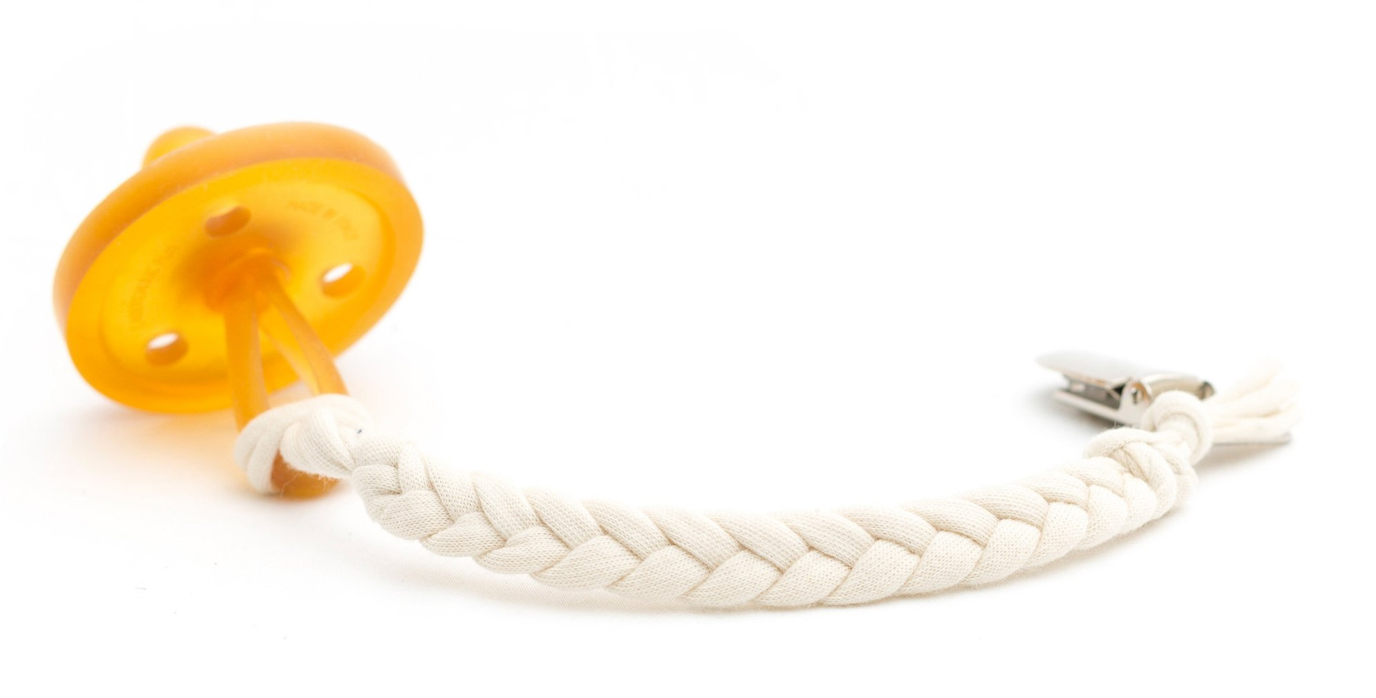 Madeline's Box Original Softy Braided Pacifier Clip, Hand-Made in USA, Universal - Keep Any Pacifier, Teether, Or Toy Off The Dirty Ground, Perfect Length 8'', Stylish and Sturdy (Softy Natural)