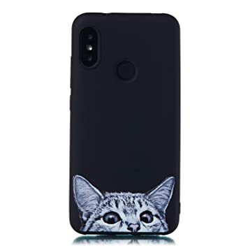 MOSORIS Funda Xiaomi MI A2 Lite, Carcasa Dibujo Suave Negro Silicona Matte Caso Parachoques Tapa Case Delgado Flexibilidad Protectora Shell Espalda ...