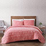 Brooklyn Loom Sand Washed Cotton Quilt Set, King, Coral