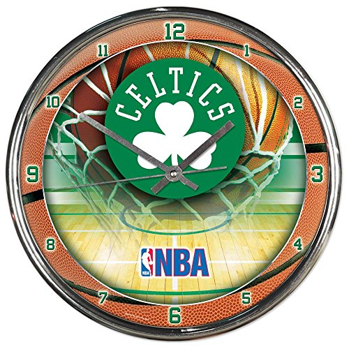 Boston Celtics NBA 12 Inch Round Chrome Plated Wall ()
