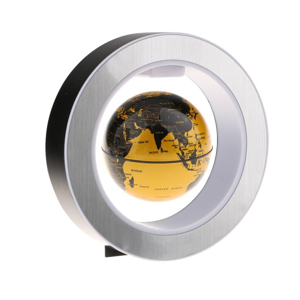 Perfk 家 オフィス デスクトップ 装飾品 4 インチ 円形フレーム 磁気 世界地図  浮動地球儀 LED ライト 全3種 ゴールド B07BYDRXW2ゴールド
