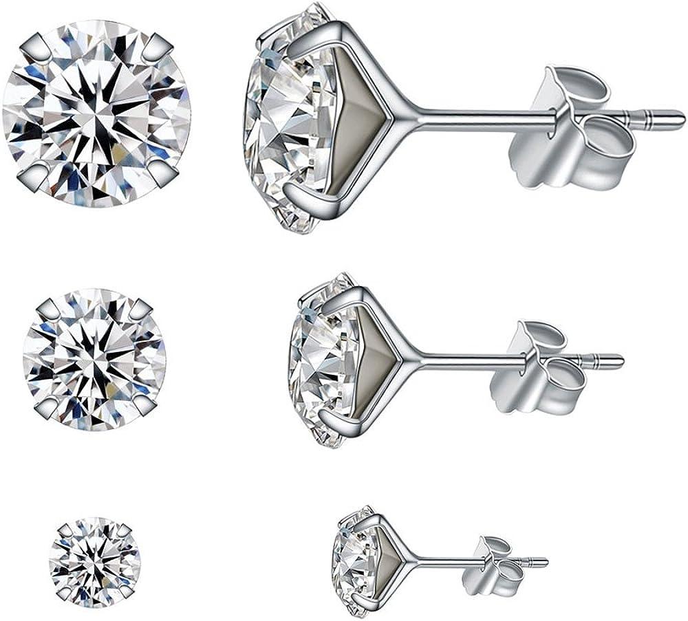 Lanmpu - Pendientes de tuerca de plata de ley y cristal Swarovski brillante, para chica y mujer. Juego de 3 pares en 4, 6 y 8 mm