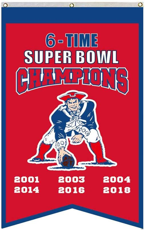 2Love New England Patriots 6-Time Super Bowl Champions Flag Banner 3x5 Feet Man Cave