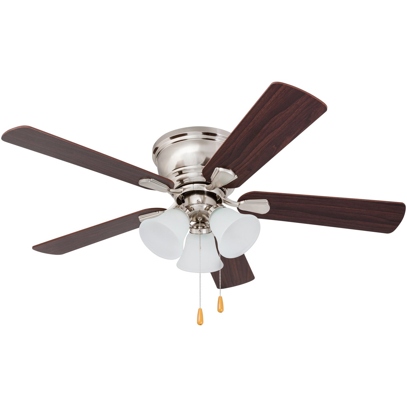 Prominence Home 80032-01 Saddle Ridge Low-Profile Hugger Ceiling Fan, LED 3-Light, Chocolate Maple/Walnut Blades, 46 inches, Brushed Nickel by Prominence Home