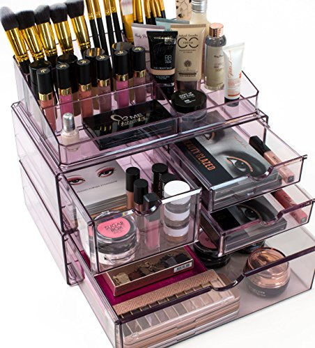 Sorbus Acrylic Cosmetics Makeup and Jewelry Storage Case X-Large Display Sets -Interlocking Scoop Drawers to Create Your Own Specially Designed Makeup Counter - Stackable and Interchangeable (Purple)