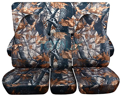 Totally Covers Fits 1994-2002 (2nd Gen) Dodge Ram Camo Truck Seat Covers (40/20/40 Split Front Bench & Solid Rear) w Center Console - Full Set: Gray Real Tree 1995 1996 1997 1998 1999 2000 2001 (2nd Split Seat Bench)