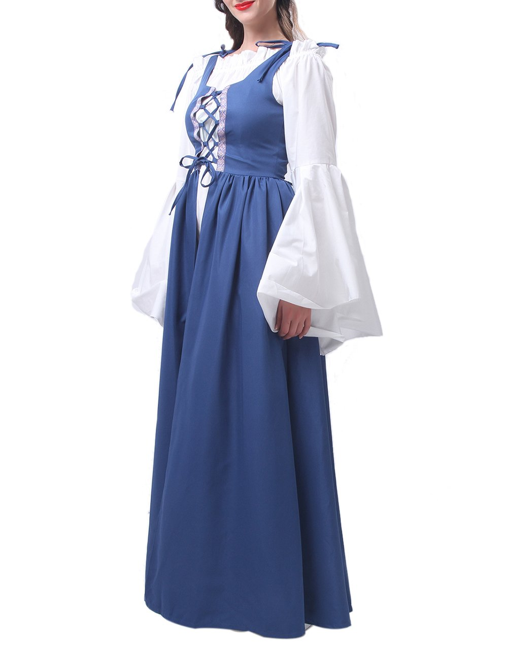 ROLECOS Womens Renaissance Medieval Irish Costume Boho Underdress Overdress Coat Light Blue L by ROLECOS (Image #4)