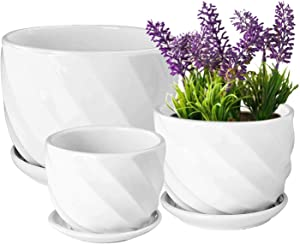 Yinger-WG Set of 3 Ceramic Plant Pot - Flower Plant Pots Indoor with Saucers,Small to Medium Sized Round Modern Ceramic Garden Flower Pots (White)