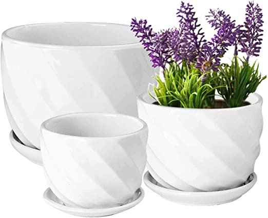 Amazon Com Yinger Wg Set Of 3 Ceramic Plant Pot Flower Plant Pots Indoor With Saucers Small To Medium Sized Round Modern Ceramic Garden Flower Pots White Home Kitchen
