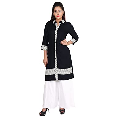 87589190435 Indian Designer Women's Rayon Shirt Collar Kurti White Palazzo Set,Indian  Bollywood Black Printed kurta