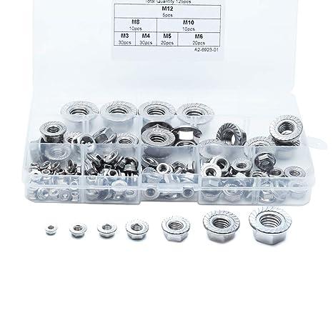 M3 + M4 + M5 + M6 + M8 + M10 + M12 Sscon 125-Pieces Stainless Steel Serrated Hex Flange Nuts Self-Locking Metric Thread Locknuts