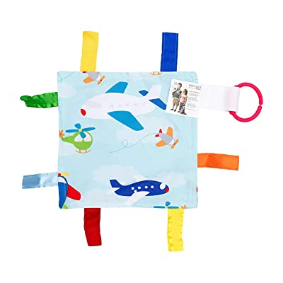 "Baby Sensory Crinkle & Teething Square Lovey Toy with Closed Ribbon Tags for Increased Stimulation: 8""X8"" (Airplanes) : Baby"