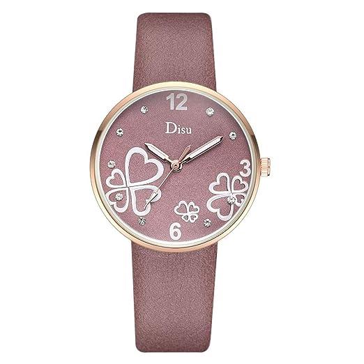 Reloj Mujer Dial Esmerilado Cinturón De Cuero Reloj De Cuarzo Moda Dama Patrón Forma Corazón Deportivo Reloj: Amazon.es: Relojes