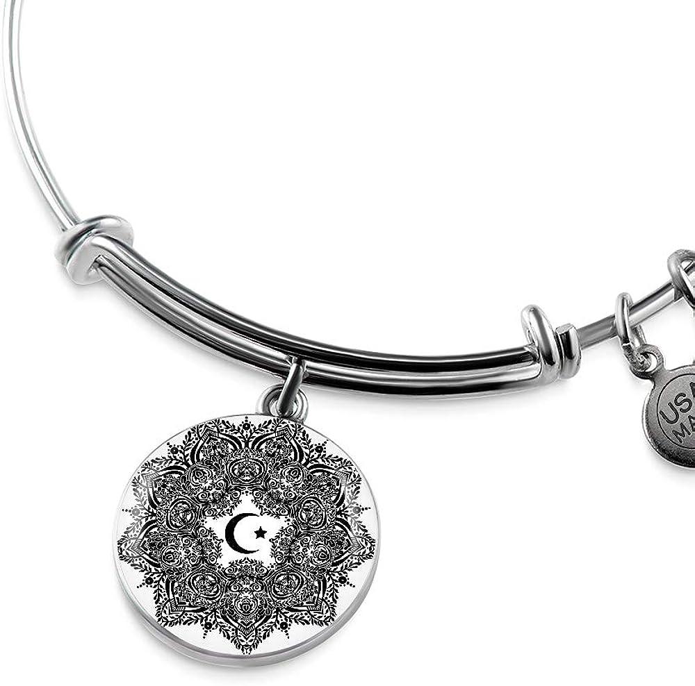 NanaTheNoodle Islamic Holidays Islamic Crescent Moon in Elegant Circle Ornate Luxury Bangle