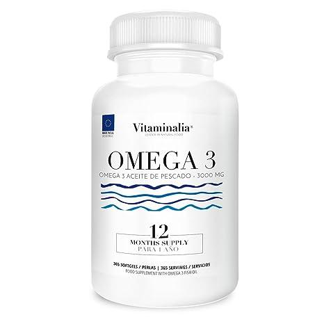 Omega 3 Aceite de Pescado | 1000mg en cada Perla - Suplementación para 1 Año | Ácidos Grasos Esenciales | Calidad de Vitaminalia