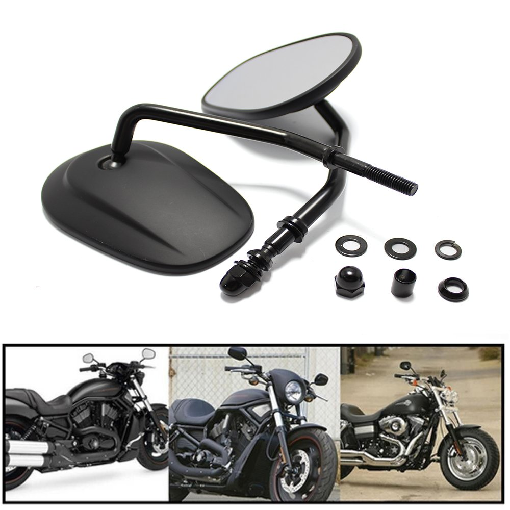 Rich Choices 8mm Black Motorcycle Handlebar Rearview Side Mirrors for Cruiser Touring Harley Davidson XL 883 1200
