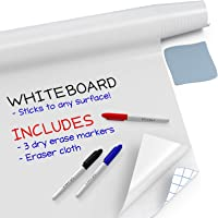 """Kassa Large Whiteboard Wall Sticker Roll - 17.3"""" x 96"""" (8 Feet) - 3 Dry Erase Board Markers Included - Adhesive White Board Wallpaper for Fridge, Office & Kids Room - Peel and Stick Paper Decal"""