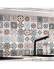 KINLO Tegelstickers(0.61 x 5 m Type B) Zelfklevende Mozaïektegels Behang voor Badkamer en Keuken, PVC Tegelstickers Wandtegels Muurstickers Tegeldecoratie in de badkamer