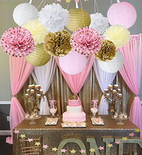 Amazon baby shower decor for girls birthday party decoration decoration pink gold white party decor kit paper lanterns paper star garland tissue paper pom poms wedding party decorations bridal shower decorations junglespirit Images
