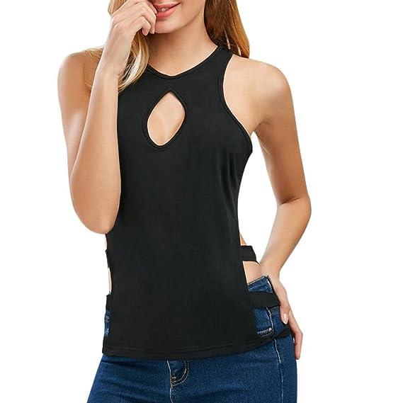 Camisetas interiores deportivas blusa negra sexys hueco con cuello en V sólido y sexy para mujer