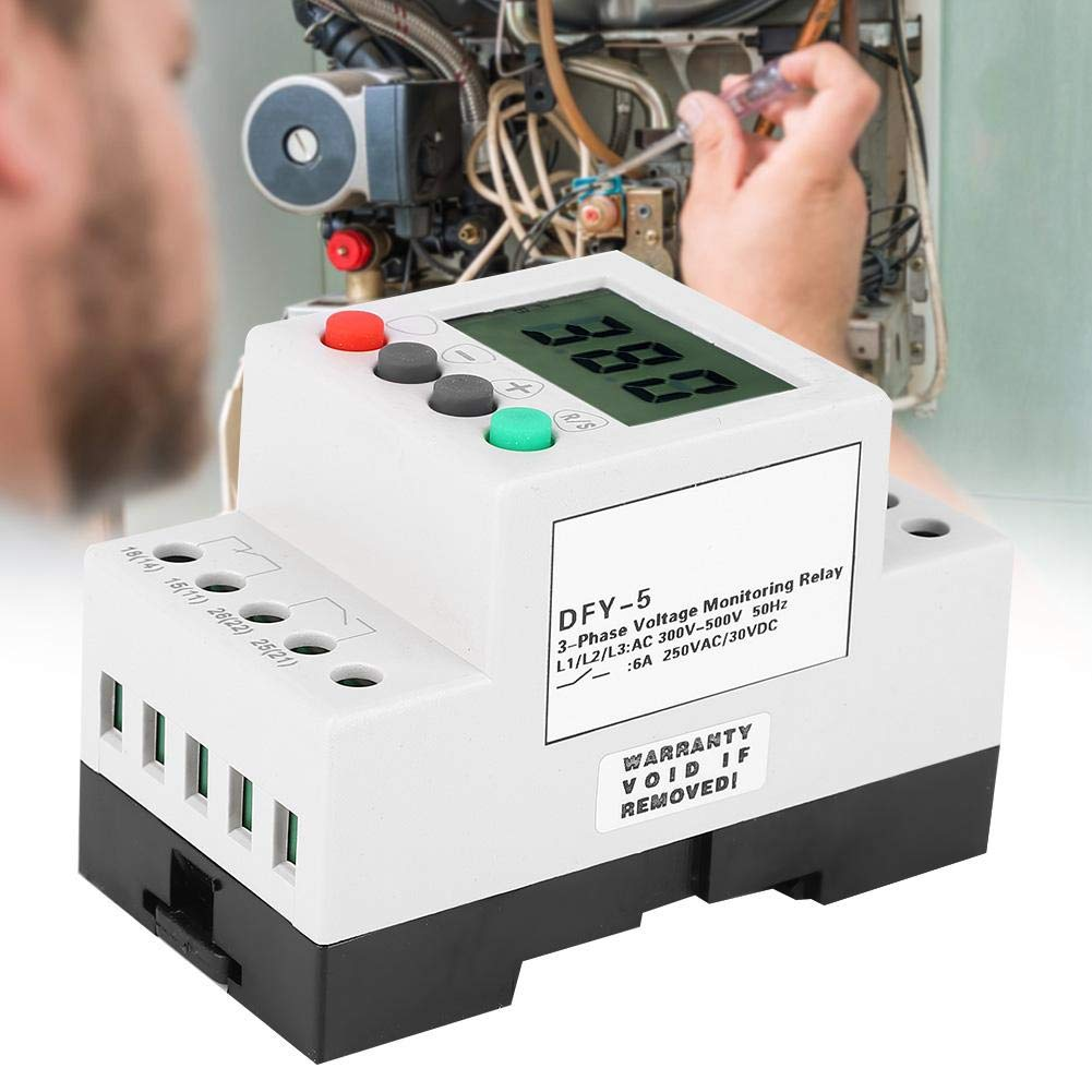 3Phase Sequence Protection Relay,300-500VAC Voltage Over Under Voltage Phase Failure Relay,LCD Guide Rail Voltage Phase Loss Protector Monitoring Relay