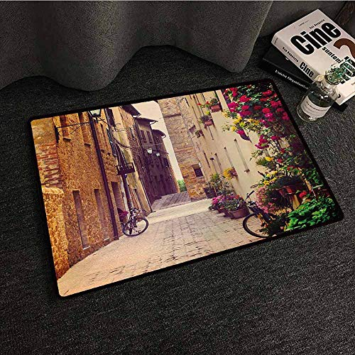 (DuckBaby Interesting Doormat Cityscape Street in Pienza Tuscany Italy with Hanging Basket Plants Flowers Bicycles Picture Suitable for Outdoor and Indoor use W20 xL31)