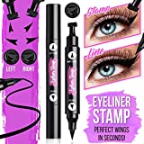 CLEOF Winged Eyeliner Stamp - 2 Pieces Left and Right | Double Sided, Matte Black Liquid Eyeliner | Extremely Pigmented, Waterproof, Smudge-Proof | Cruelty Free & Vegan - For Perfect Wings & Cat Eyes