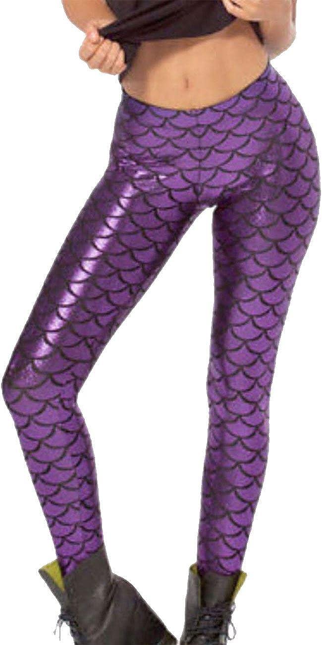 S Islander Fashions Womens Metallic Mermaid Legging Filles Fish Scale Skinny Disco Leggings Pantalons 5-13 Ans 2XL UE 36-50