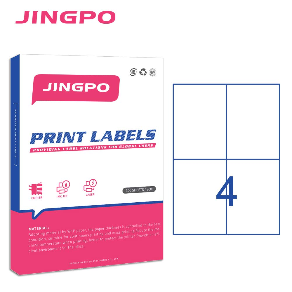 Jingpo address shipping label 4 up fba sku printer label stickers 4 13 x 5 85for laser ink jet printer 100 sheets 400 address labels amazon ca office