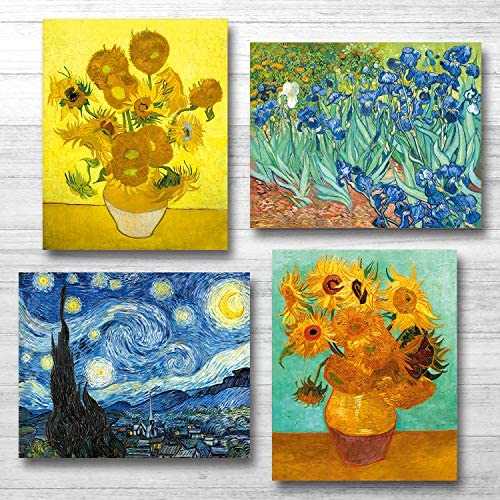 Van Gogh Canvas Wall Art Posters And Prints Of Famous Painting Abstract Wall Art Prints Unframed Art 8x10 Vincent Van Gogh Poster Artwork (4 Pack A)