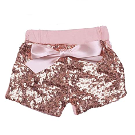 c9c19ad52 Digirlsor Baby Girls Sequin Shorts Toddler Kids Bowknot Cotton Short Pants  Sparkles on Front,1-8Y: Amazon.in: Baby
