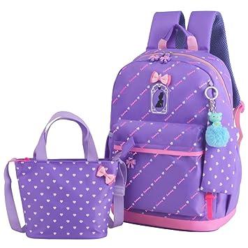 5ab68e662714 JiaYou Girl Boy Cute Lunch Bag Purse/Pencil Bag School Backpack 3 Sets  (20L, StyleD Purple)