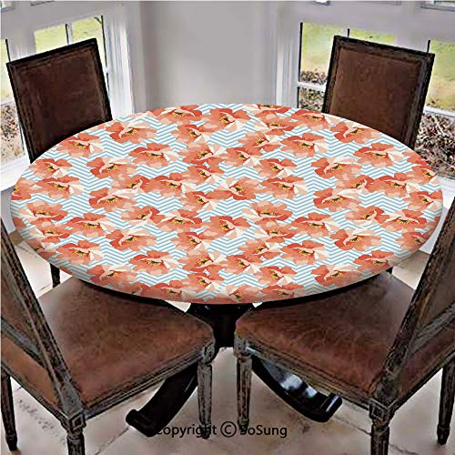 Elastic Edged Polyester Fitted Table Cover,Soft Pastel Poppy Flowers on Chevron Zigzag Backdrop Romantic Feminine,Fits up to 36