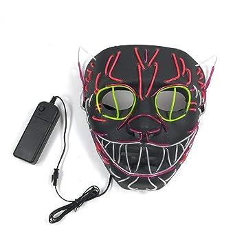 Lianaic Máscara Máscara De Halloween Llevó La Luz Brillante Máscara De Gato Máscara Anónima Máscara Brillante
