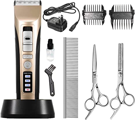Professional 3-Speed Rechargeable Cordless Electric Pets Clippers FOCUSPET Dog Grooming Clippers Low Noise Pet Grooming Clipper Trimmer Kit for Dog and Cat LED Screen Indicate Power//Oil