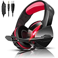 PS4 Gaming Headset with 7.1 Surround Sound, Xbox One Headset with Noise Canceling Mic & LED Light, PHOINIKAS H3 Over Ear…