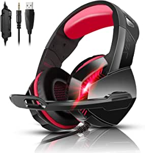 PS4 Gaming Headset with 7.1 Surround Sound, Xbox One Headset with Noise Canceling Mic & LED Light, PHOINIKAS H3 Over Ear Headphones, Compatible with Nintendo Switch, PC, PS4, Xbox One, Laptop (Red)