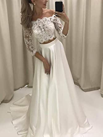 Veilace Women\'s Three Quarter Sleeves Wedding Dress Lace Off ...