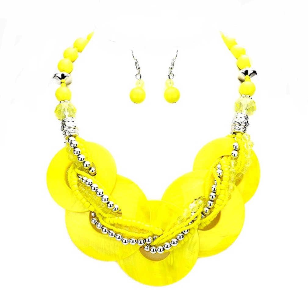 Chunky Statement Yellow Abalone Shell Braid Stand Silver beads Necklace Earrings Set Jewelry