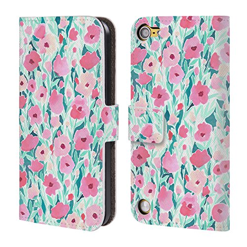 Official Jacqueline Maldonado Flower Field Pink Mint Patterns Leather Book Wallet Case Cover For iPod Touch 5th Gen / 6th Gen