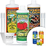 Fox Farm Big Bloom Grow Big - Tiger Bloom Trio Quart and GH pH Control Kit - Fox Farms Trio Nutrients Bundle Fast Acting Water Soluble Fertilizer with 5 pipettes and 4 oz Hydro Empire Measuring Cup