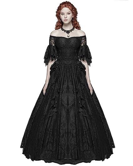 Gothic Wedding Dress.Punk Rave Gothic Wedding Dress Long Black Lace Steampunk Vintage