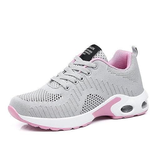 code promo 7fb38 6e85b Basket Sneakers Femme pour Running Chaussures de Course Lacets Air Coussin  4cm Noir Rouge Rose Violet Blanc 35-42