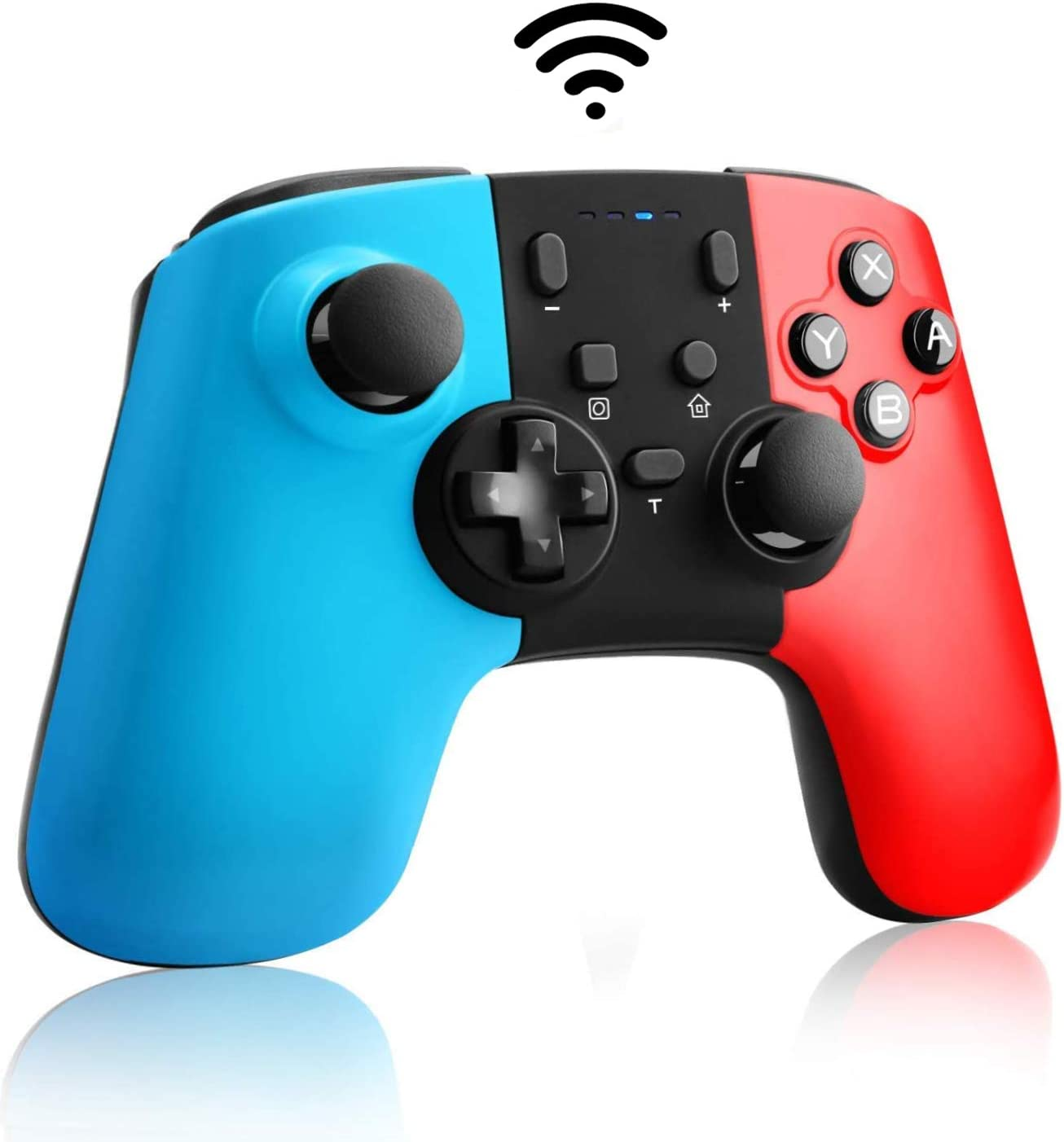 YHT Wireless Pro Controller for Nintendo Switch/Lite,Remote Switch Controller Gamepad for Nintendo Switch Console with 6-Axis Gyro Motion Control,Turbo Function and 3 Level Vibrations(Red&Blue)