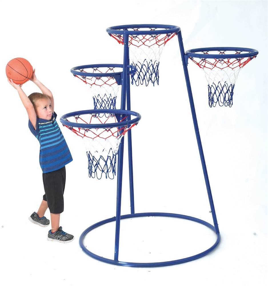 Children's Factory 4-Rings Basketball Stand with Storage Bag by Children's Factory