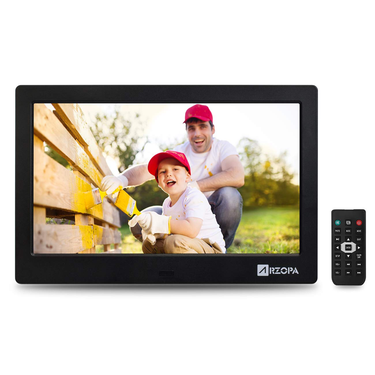 Arzopa 10 inch Digital Photo Frames Widescreen Digital Picture Frames Support MP3 MP4 Videos and Player Pictures Player with Calendar Function and Remote Control Black by Arzopa
