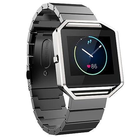FOTOWELT Fitbit Blaze Banda de Reloj, Lujo de Moda Stailess Acero Correa de Pulsera Banda