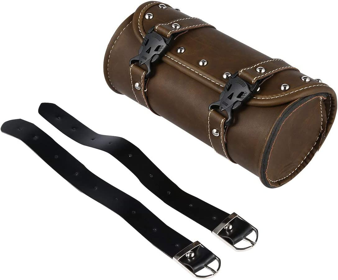 Brown MagiDeal Motorcycle Bike Saddle Bags Saddlebags PU Leather Side Storage Fork Tool Pouch